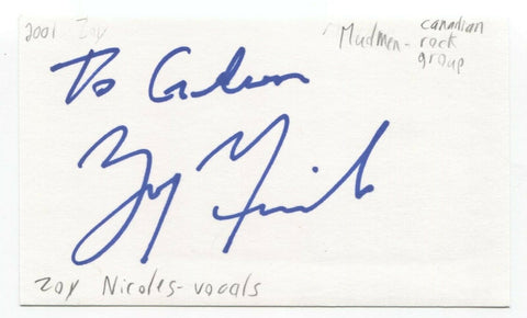 "Mudmen - Zois ""Zoy"" Nicoles Signed 3x5 Index Card Autographed Signature Band"