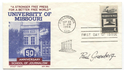 Paul Greenberg Signed FDC First Day Cover Autographed Vintage Signature
