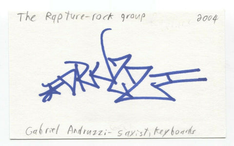 The Rapture - Gabriel Andruzzi Signed 3x5 Index Card Autographed Signature Band