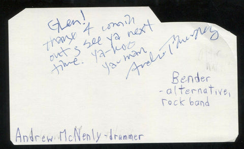 Andrew McNenly - Bender Signed Cut 3x5 Index Card Autographed Band