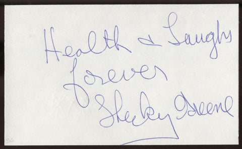 Shecky Greene Signed Index Card Signature Vintage Autographed AUTO