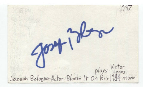 Joseph Bologna Signed 3x5 Index Card Autographed Signature Actor