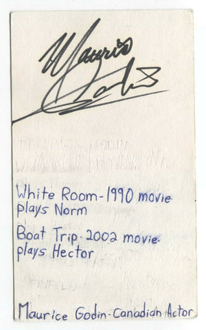 Maurice Godin Signed 3x5 Index Card Autographed Signature Actor