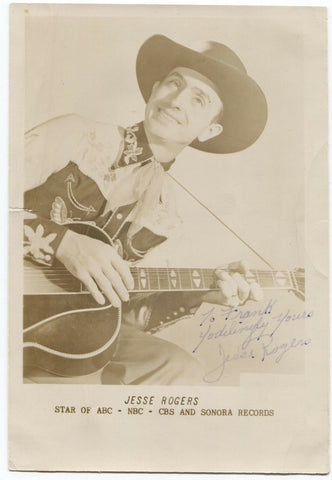 Jesse Rodgers Signed Photo Autographed Jesse Rogers Yodeling Cowboy Western