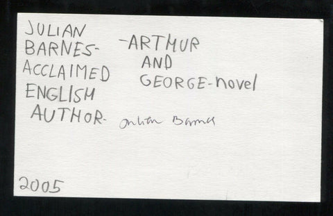 Julian Barnes Signed 3x5 Index Card Autographed Signature Author