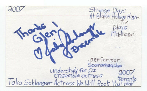 Talia Schlanger Signed 3x5 Index Card Autograph Signature Actress Producer