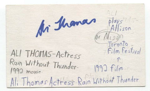 Ali Thomas Signed 3x5 Index Card Autographed Signature Actress