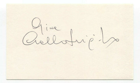 Gina Lollobrigida Signed 3x5 Index Card Vintage Autographed Signature Plus Photo