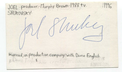 Joel Shukovsky Signed 3x5 Index Card Autograph Signature Producer Murphy Brown