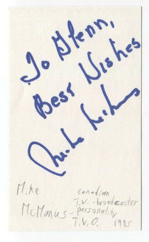 Mike McManus Signed 3x5 Index Card Autographed Signature Journalist Broadcaster