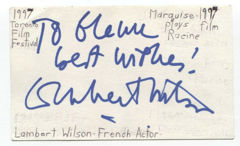 Lambert Wilson Signed 3x5 Index Card Autographed Signature Actor The Matrix