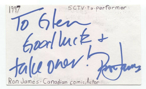 Ron James Signed 3x5 Index Card Autographed Signature Actor Comedian