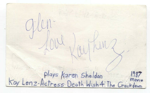 Kay Lenz Signed 3x5 Index Card Autographed Signature Actress American Graffiti
