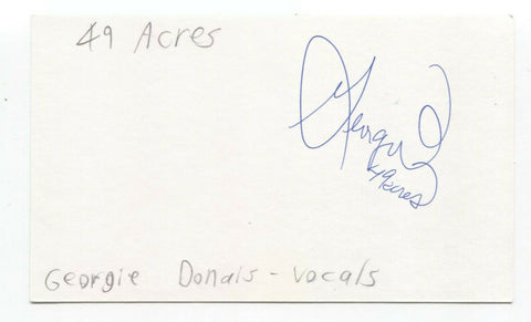 49 Acres - Georgie Donais Signed 3x5 Index Card Autographed Signature Band