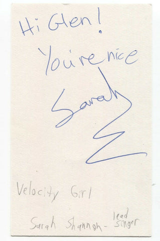 Velocity Girl - Sarah Shannon Signed 3x5 Index Card Autographed Signature