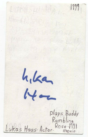 Lukas Haas Signed 3x5 Index Card Autographed Signature Actor Mars Attacks!