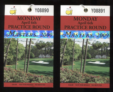 2009 Masters Badge Lot of 2 Augusta National Golf Tournament Ticket Pass Pin