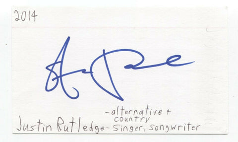 Justin Rutledge Signed 3x5 Index Card Autographed Signature Country Singer