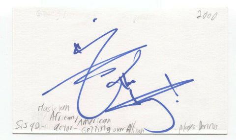 Sisqo Signed 3x5 Index Card Autographed Signature Singer Actor Thong Song