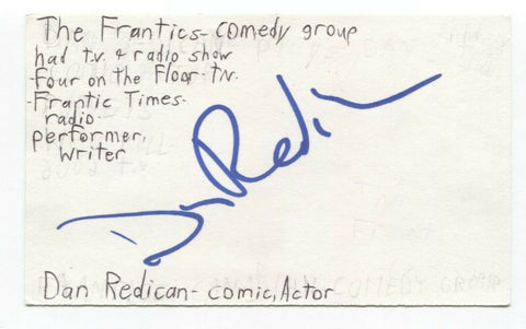 Dan Redican Signed 3x5 Index Card Autograph Signature Comedian Writer