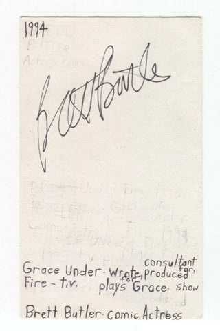 Brett Butler Signed 3x5 Index Card Autographed Signature Actress