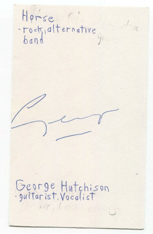 Horse - George Hutchison Signed 3x5 Index Card Autographed Signature Band