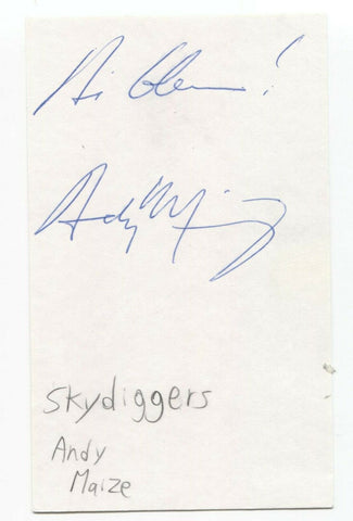 Skydiggers - Andy Maize Signed 3x5 Index Card Autographed Signature
