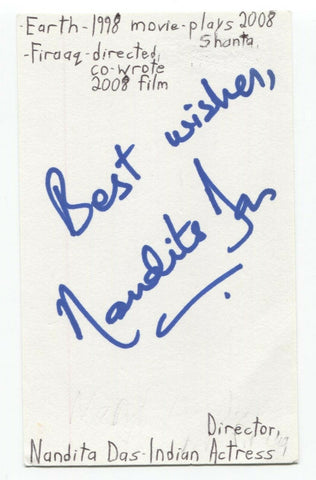 Nandita Das Signed 3x5 Index Card Autographed Signature Director Actress