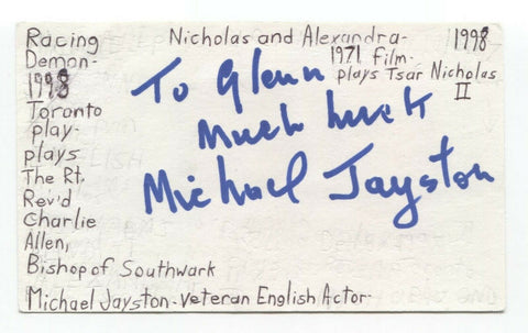 Michael Jayston Signed 3x5 Index Card Autographed Actor Signature Doctor Who