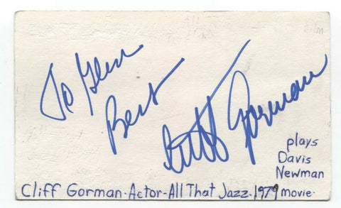 Cliff Gorman Signed 3x5 Index Card Autographed Signature Actor All That Jazz