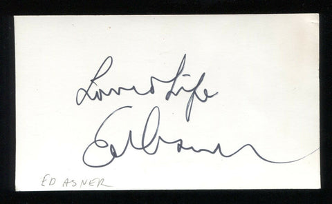 Ed Asner Signed Index Card Inscribed Vintage Autographed Signature
