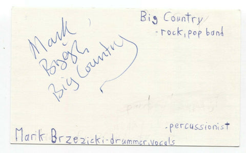 Big Country - Mark Brzezicki Signed 3x5 Index Card Autographed Signature Band