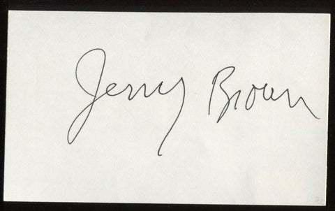 Governor Jerry Brown Signed Index Card Autographed Signature AUTO