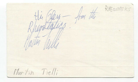 Rheostatics - Martin Tielli Signed 3x5 Index Card Autographed Signature