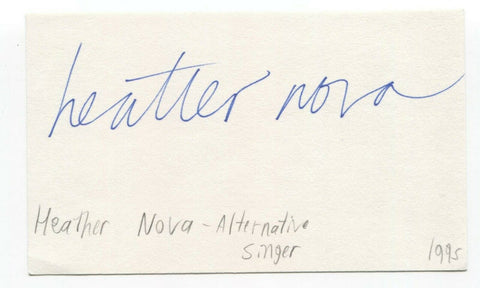 Heather Nova Signed 3x5 Index Card Autographed Signature Singer