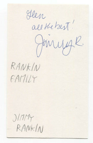 The Rankin Family - Jimmy Rankin Signed 3x5 Index Card Autographed Signature