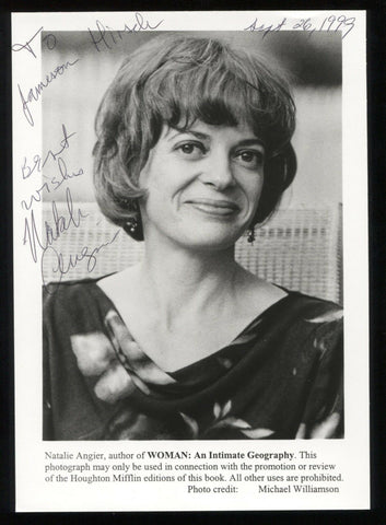 Natalie Angier Signed Photo Postcard Autographed New York Time Pulitzer Author
