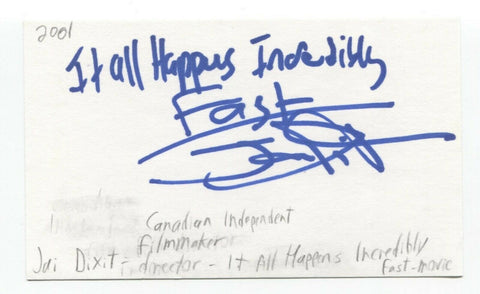 Jai Dixit Signed 3x5 Index Card Autographed Signature Director