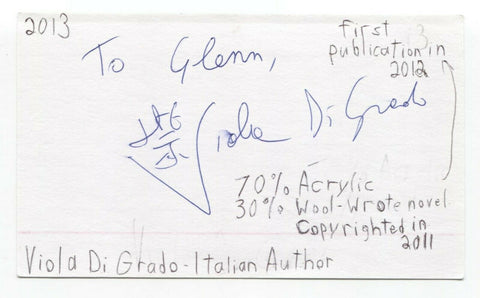 Viola Di Grado Signed 3x5 Index Card Autographed Signature Writer Author