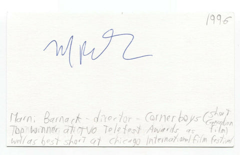 Marni Barnack Signed 3x5 Index Card Autographed Signature Director Corner Boys