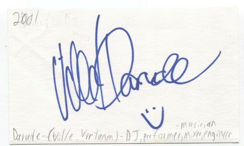 Darude Signed 3x5 Index Card Autographed Signature Finnish DJ