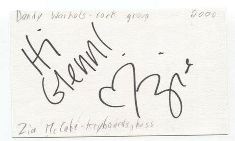 The Dandy Warhols - Zia McCabe Signed 3x5 Index Card Autographed Signature Band