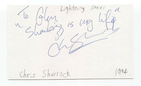 Lightning Seeds - Chris Sharrock Signed 3x5 Index Card Autographed Signature