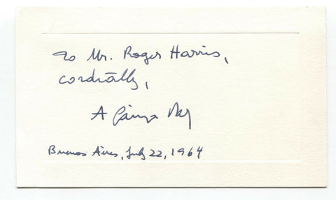 Alberto Gainza Paz Signed Card Autographed Signature Argentine Journalist