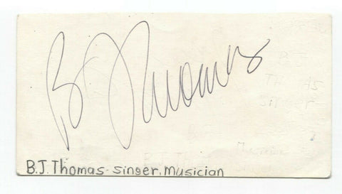 BJ Thomas Signed 3x5 Index Card Autographed Signature Singer