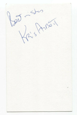 The Pursuit of Happiness - Kris Abbott Signed 3x5 Index Card Autographed