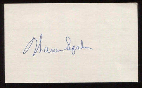 Warren Spahn Signed 3x5 Index Card Signature Autographed Baseball Hall of Fame