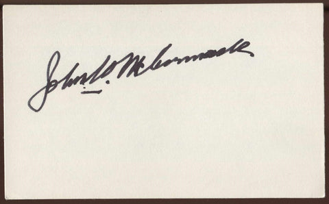 John W. McCormack Signed Index Card Autograph Signature AUTO