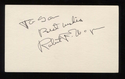 Robert F. Wagner Signed 3x5 Index Card Autographed Signature New York City Mayor