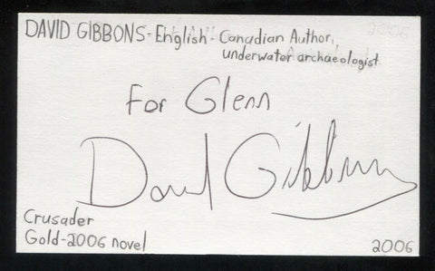 David Gibbins Signed 3x5 Index Card Autographed Signature Archaeologist Author